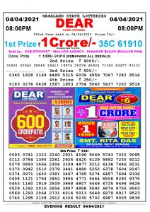Lottery Sambad Live Result 8pm 04/04/2021 Evening Nagaland State Lottery Result Pdf Download