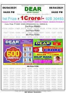 Lottery Sambad Live today 4pm 06/04/2021 Nagaland State Lottery Result Pdf File Download