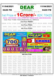 Lottery Sambad Live today 4pm 11/04/2021 Nagaland State Lottery Result Pdf File Download
