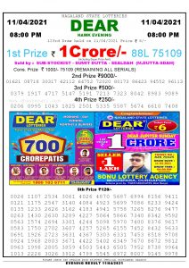 Lottery Sambad Live Result 8pm 11/04/2021 Evening Nagaland State Lottery Result Pdf Download