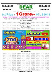 Lottery Sambad Live today 4pm 13/04/2021 Nagaland State Lottery Result Pdf File Download