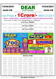 Lottery Sambad Live today 4pm 15/04/2021 Nagaland State Lottery Result Pdf File Download