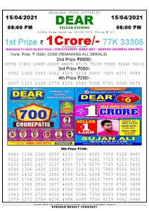 Lottery Sambad Live Result 8pm 15/04/2021 Evening Nagaland State Lottery Result Pdf Download