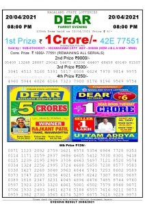 Lottery Sambad Live Result 8pm 20/04/2021 Evening Nagaland State Lottery Result Pdf Download