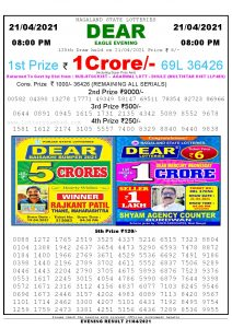 Lottery Sambad Live Result 8pm 21/04/2021 Evening Nagaland State Lottery Result Pdf Download