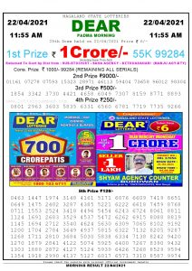 Sambad 11:55 am 22/04/2021 Morning Sikkim State Lottery Result Pdf Download