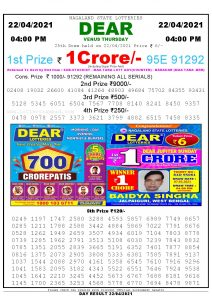 Lottery Sambad Live today 4pm 22/04/2021 Nagaland State Lottery Result Pdf File Download