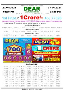 Lottery Sambad Live Result 8pm 23/04/2021 Evening Nagaland State Lottery Result Pdf Download