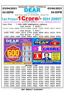 Lottery Sambad Live today 4pm 03/04/2021 Nagaland State Lottery Result Pdf File Download
