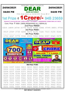 Lottery Sambad Live today 4pm 24/04/2021 Nagaland State Lottery Result Pdf File Download