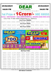 Lottery Sambad Live today 4pm 25/04/2021 Nagaland State Lottery Result Pdf File Download