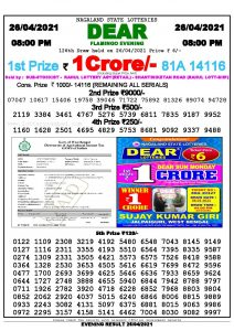 Lottery Sambad Live Result 8pm 26/04/2021 Evening Nagaland State Lottery Result Pdf Download