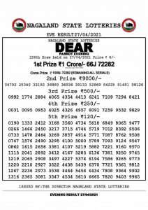 Lottery Sambad Live Result 8pm 27/04/2021 Evening Nagaland State Lottery Result Pdf Download