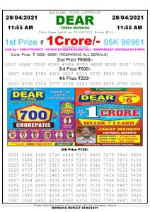 Sambad 11:55 am 28/04/2021 Morning Sikkim State Lottery Result Pdf Download
