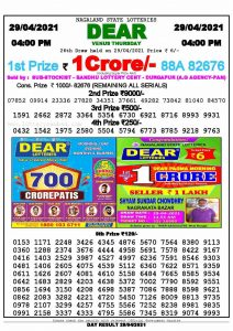 Lottery Sambad Live today 4pm 29/04/2021 Nagaland State Lottery Result Pdf File Download