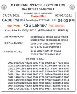 Mizoram State Lottery Result (07.07.2021) Out now 04:00 pm pdf download