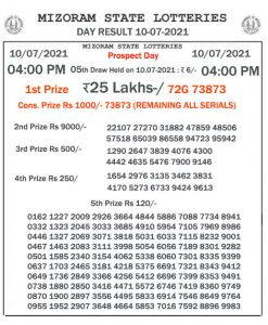 Mizoram State Lottery Result (10.07.2021) Out now 04:00 pm pdf download