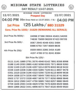 Mizoram State Lottery Result (13.07.2021) Out now 04:00 pm pdf download