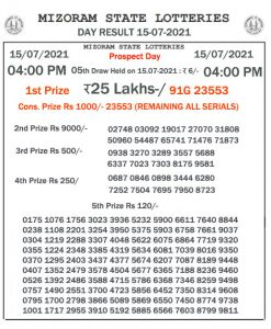 Mizoram State Lottery Result (15.07.2021) Out now 04:00 pm pdf download