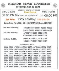 Mizoram State Lottery Result (02.07.2021) Out now 08:00 pm pdf download