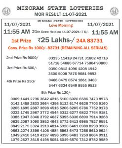 Mizoram State Lottery Result (11.07.2021) Out now 11:55 AM Morning Result pdf download