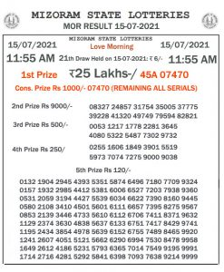 Mizoram State Lottery Result (15.07.2021) Out now 11:55 AM Morning Result pdf download