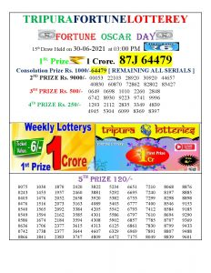 Tripura Lottery Result 30.06.2021 Today 3 PM Result Pdf Download