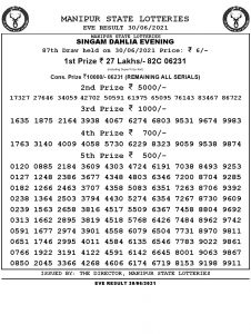 Manipur State Lottery Result (30.06.2021) Out now 07 pm pdf download