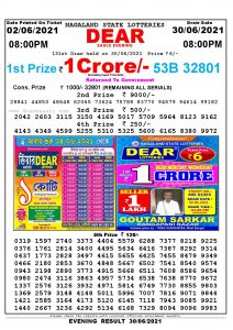 Lottery Sambad Live Result 8pm 30/06/2021 Evening Nagaland State Lottery Result Pdf Download