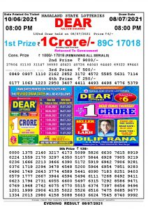 Lottery Sambad Live Result 8pm 08/07/2021 Evening Nagaland State Lottery Result Pdf Download