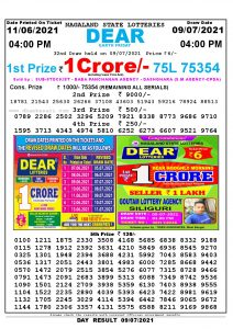 Lottery Sambad Live today 4pm 09/07/2021 Nagaland State Lottery Result Pdf File Download