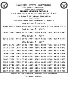 Manipur State Lottery Result (09.07.2021) Out now 07 pm pdf download