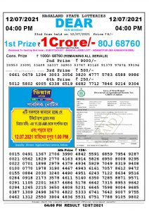 Lottery Sambad Live today 4pm 12/07/2021 Nagaland State Lottery Result Pdf File Download