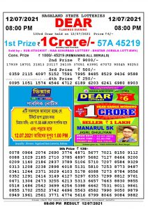 Lottery Sambad Live Result 8pm 12/07/2021 Evening Nagaland State Lottery Result Pdf Download