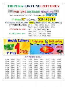 Tripura Lottery Result 02.02.2021 Today 11:00 AM Morning Result Pdf Download