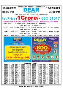 Lottery Sambad Live today 4pm 13/07/2021 Nagaland State Lottery Result Pdf File Download