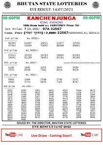 Bhutan Lottery Result 14.7.2021 Today evening 8pm PDF download