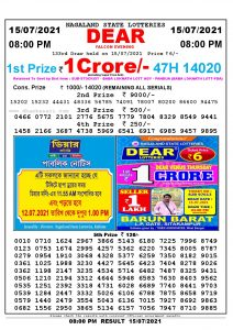 Lottery Sambad Live Result 8pm 15/07/2021 Evening Nagaland State Lottery Result Pdf Download