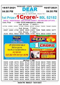 Lottery Sambad Live today 4pm 16/07/2021 Nagaland State Lottery Result Pdf File Download