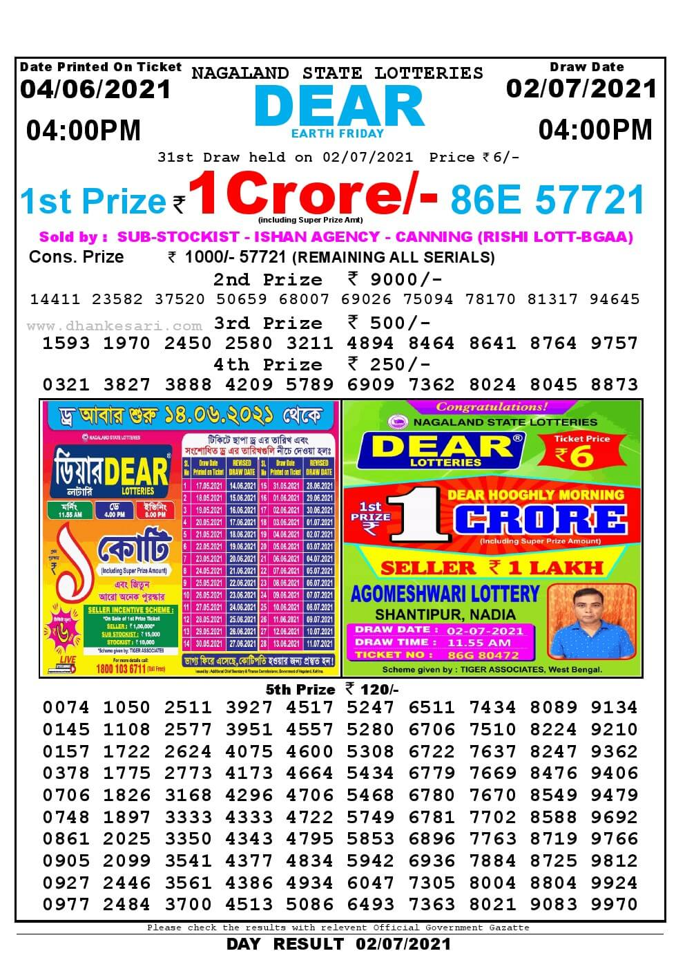 Lottery Sambad Live today 4pm 02/07/2021 Nagaland State Lottery Result Pdf File Download