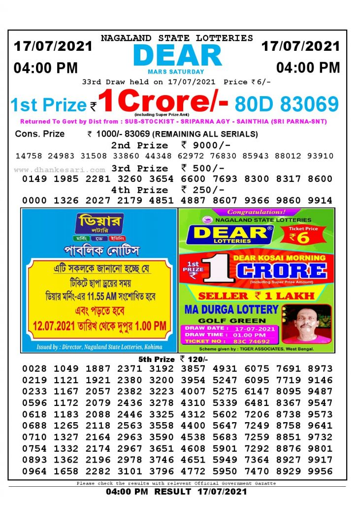 Lottery Sambad Live today 4pm 17/07/2021 Nagaland State Lottery Result Pdf File Download