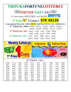 Tripura Lottery Result 02.07.2021 Today 3 PM Result Pdf Download