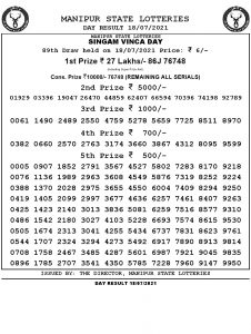 Manipur State Lottery Result (18.07.2021) Out now 03 pm pdf download
