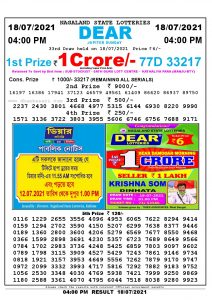 Lottery Sambad Live today 4pm 18/07/2021 Nagaland State Lottery Result Pdf File Download