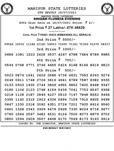 Manipur State Lottery Result (18.07.2021) Out now 07 pm pdf download