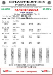 Bhutan Lottery Result 18.7.2021 Today evening 8pm PDF download