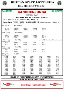 Bhutan Lottery Result 19.7.2021 Today 4pm PDF download