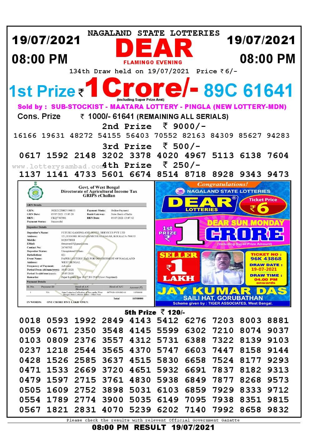 Lottery Sambad Live Result 8pm 19/07/2021 Evening Nagaland State Lottery Result Pdf Download
