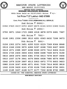 Manipur State Lottery Result (20.07.2021) Out now 11:00 AM pdf download