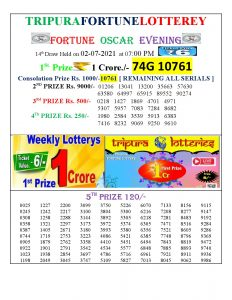 Tripura Lottery Result 02.07.2021 Today 7 PM Evening Result Pdf Download